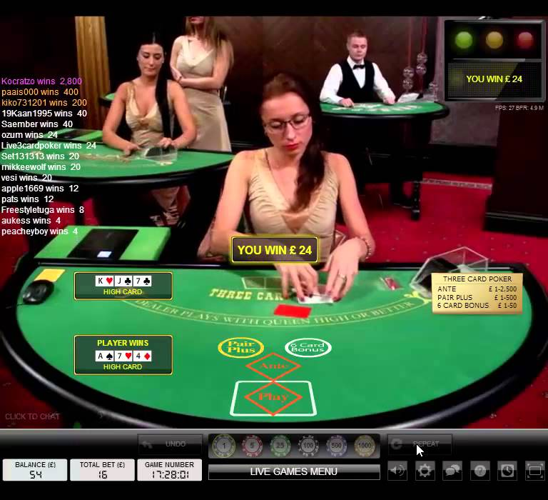 live casino Three Card Poker