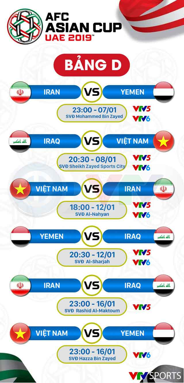 4Table schedule AFC Asian Cup 2019